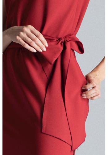Elegantní dámské šaty bordové barvy s vázáním v pase