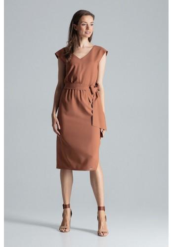 Hnědé elegantní šaty s vázáním v pase pro dámy
