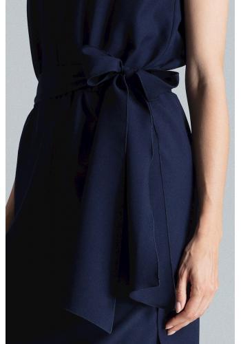 Dámské elegantní šaty s vázáním v pase v tmavě modré barvě