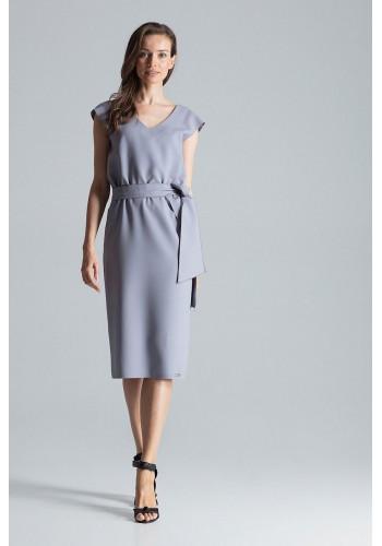 Elegantní dámské šaty šedé barvy s vázáním v pase