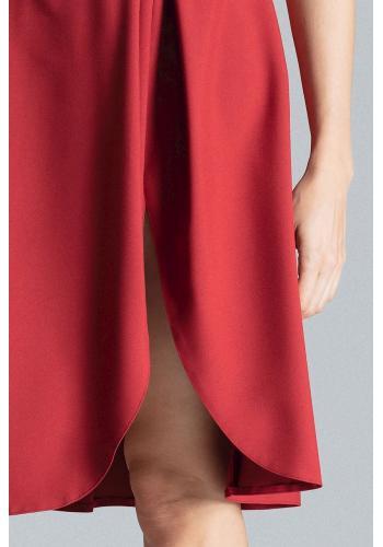 Bordová elegantní sukně s rozparkem na boku pro dámy