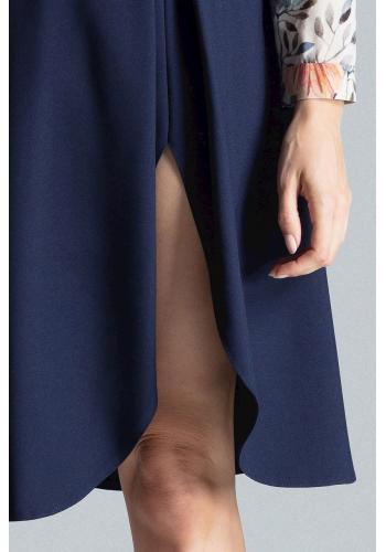 Dámská elegantní sukně s rozparkem na boku v tmavě modré barvě