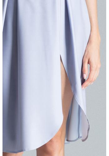 Šedá elegantní sukně s rozparkem na boku pro dámy