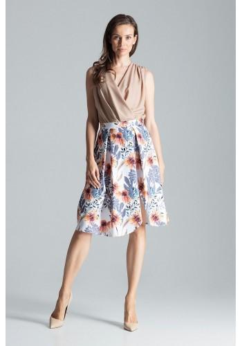 Elegantní dámská sukně bílé barvy se vzorem