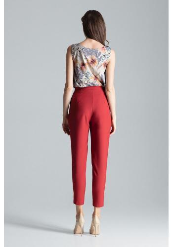 Klasické dámské kalhoty bordové barvy se zapínáním na boku