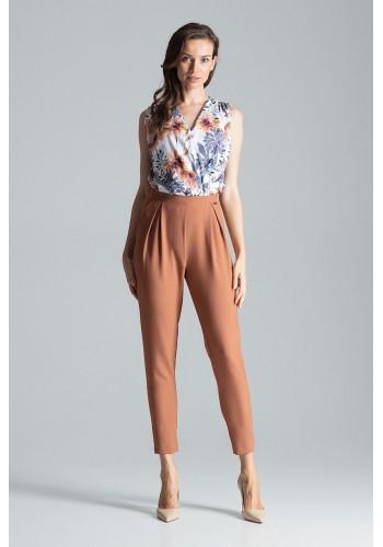 Dámské klasické kalhoty se zapínáním na boku v hnědé barvě