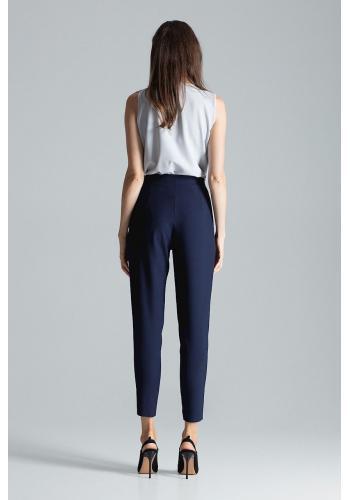 Tmavě modré klasické kalhoty se zapínáním na boku pro dámy