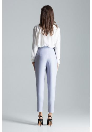 Klasické dámské kalhoty šedé barvy se zapínáním na boku