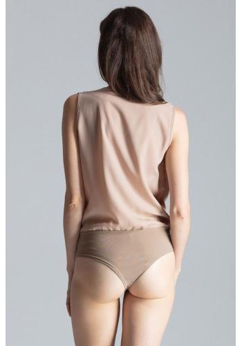 Elegantní dámské body béžové barvy s obálkovým výstřihem