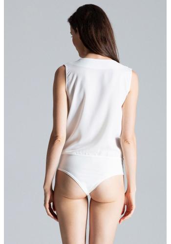 Dámské elegantní body s obálkovým výstřihem v bílé barvě