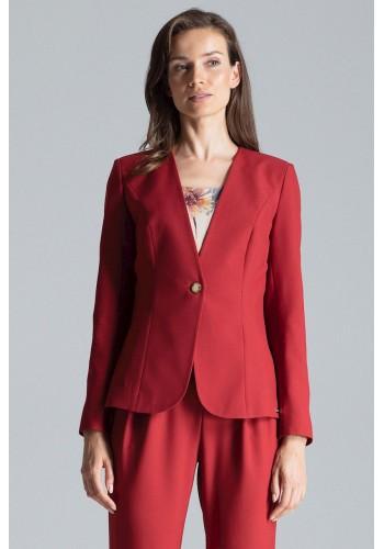 Klasické dámské sako bordové barvy s jedním knoflíkem