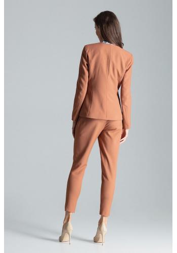 Dámské klasické sako s jedním knoflíkem v hnědé barvě