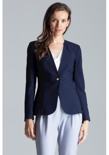 Tmavě modré klasické sako s jedním knoflíkem pro dámy