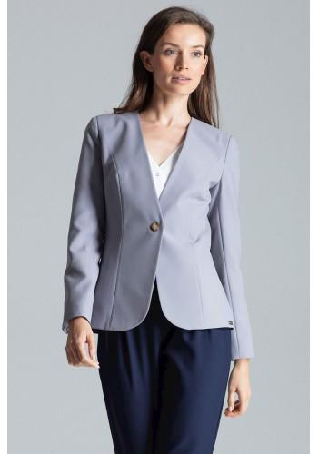 Klasické dámské sako šedé barvy s jedním knoflíkem