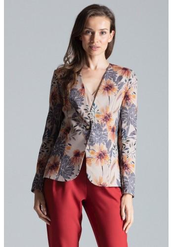 Béžové klasické sako se vzorem pro dámy