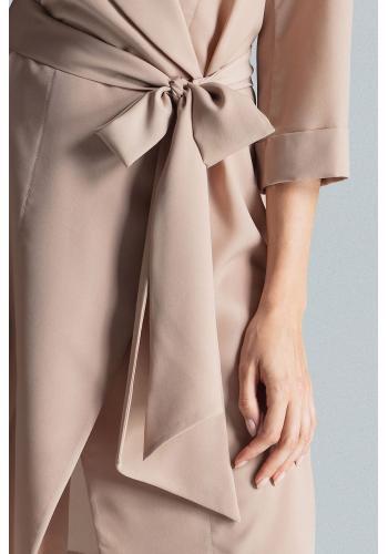 Béžové volné šaty s vázáním v pase pro dámy