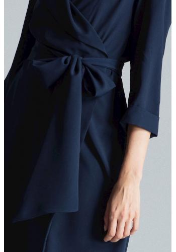 Dámské volné šaty s vázáním v pase v tmavě modré barvě