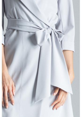Volné dámské šaty šedé barvy s vázáním v pase