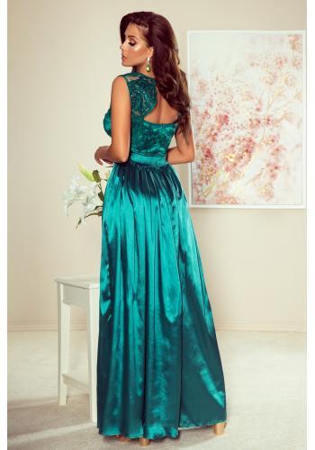 Dlouhé dámské šaty zelené barvy s vyšívaným výstřihem