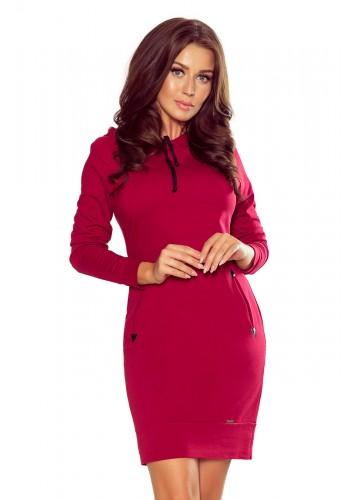 Bavlněné dámské šaty bordové barvy s kapucí