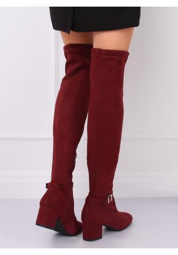 Bordové semišové kozačky nad kolena na nízkém podpatku pro dámy