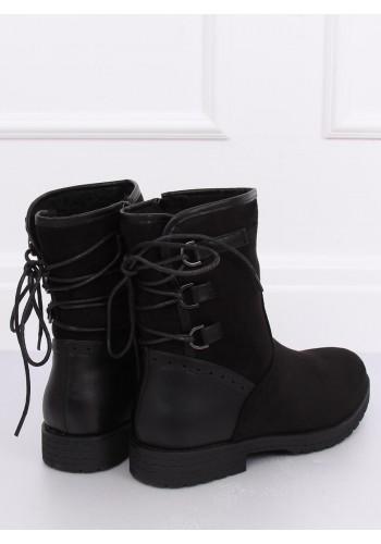 Černé oteplené boty s vázáním vzadu pro dámy