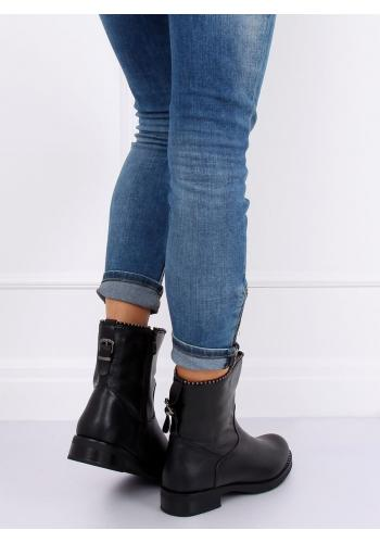 Dámské módní boty s korálky v černé barvě