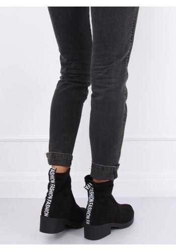 Semišové dámské boty černé barvy s potiskem vzadu
