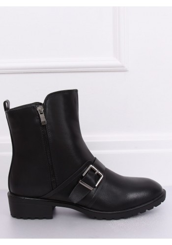 Černé módní boty s přezkou pro dámy