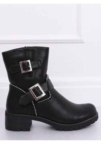 Dámské stylové boty s přezkami v černé barvě