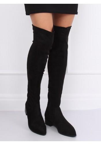 Semišové dámské kozačky nad kolena černé barvy