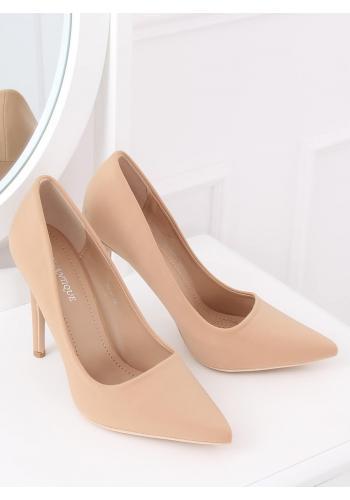 Béžové elegantní lodičky na štíhlém podpatku pro dámy