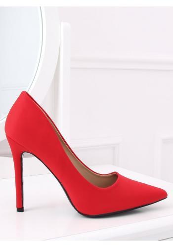 Elegantní dámské lodičky červené barvy na štíhlém podpatku