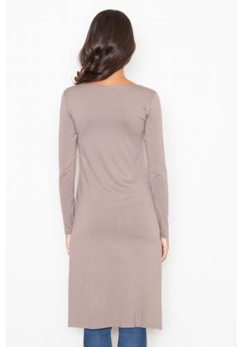 Dlouhé dámské tuniky v olivové barvě s rozparkem