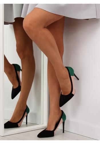 Černé ombré lodičky na podpatku pro dámy
