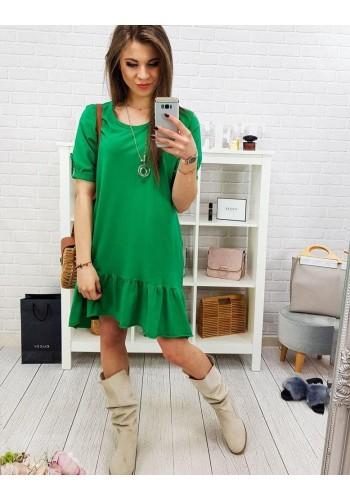 Volné dámské šaty zelené barvy s volánem