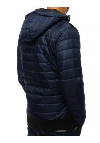 Pánská prošívaná bunda na podzim v tmavě modré barvě