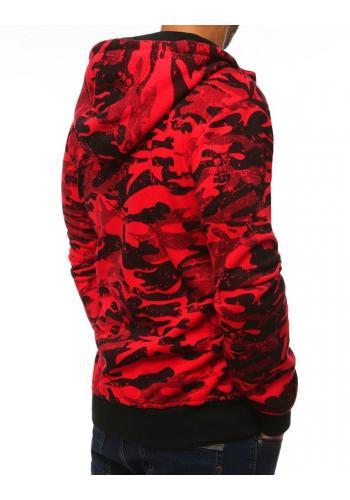 Červená maskáčová mikina s kapucí pro pány