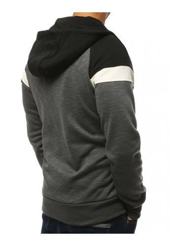 Pánská sportovní mikina s kapucí v tmavě šedé barvě