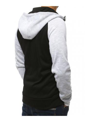 Módní pánská mikina bílé barvy s kapucí
