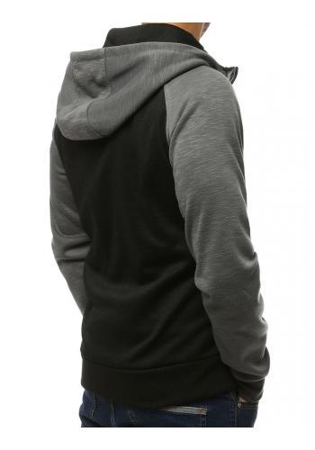Tmavě šedá módní mikina s kapucí pro pány