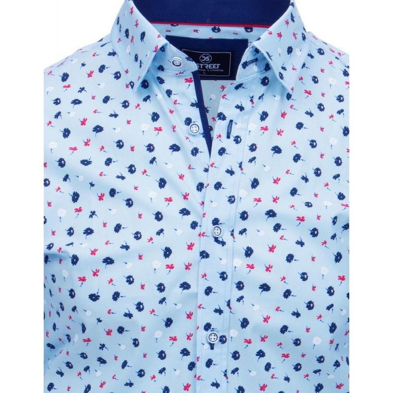 Pánská módní košile s květinami v světle modré barvě