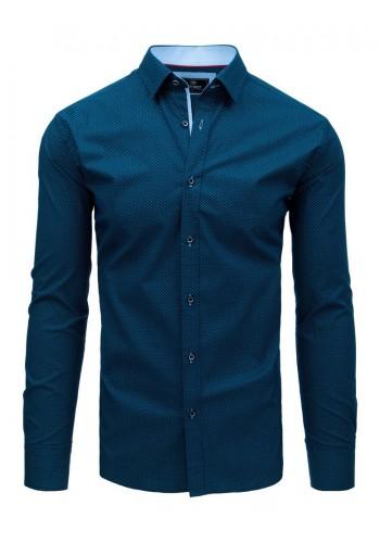 Pánská módní košile se vzorem v tmavě modré barvě