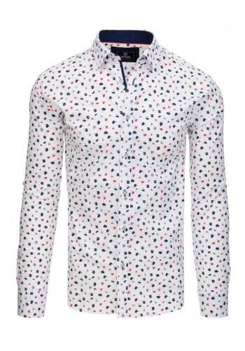 Bílá módní košile s květy pro pány