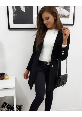Černý jednořadý kabát na přechodné období pro dámy