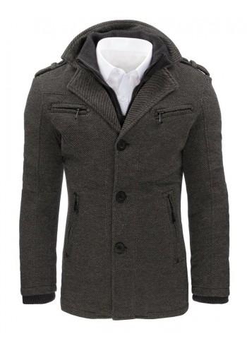 Šedý elegantní kabát s odepínacím límcem pro pány