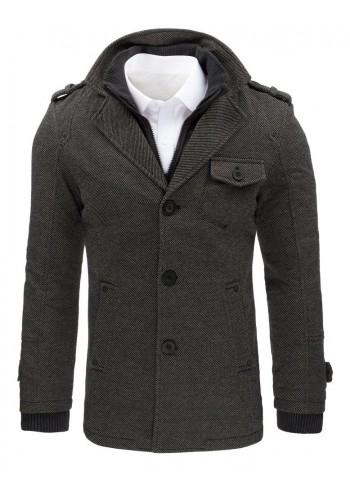 Pánský módní kabát se zateplenou podšívkou v šedé barvě