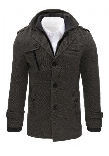 Elegantní pánský kabát šedé barvy s odepínacím límcem