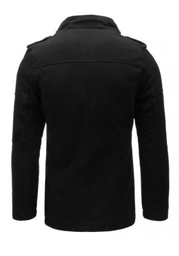 Černý jednořadý kabát s odepínacím límcem pro pány