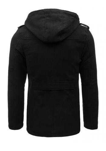 Pánský jednořadý kabát s odepínací kapucí v černé barvě